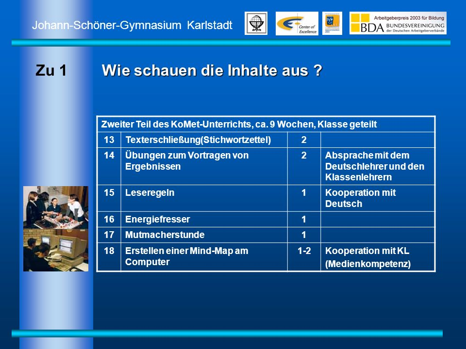 Johann-Schöner-Gymnasium Karlstadt Wie schauen die Inhalte aus ? Zweiter Teil des KoMet-Unterrichts, ca. 9 Wochen, Klasse geteilt 13Texterschließung(S