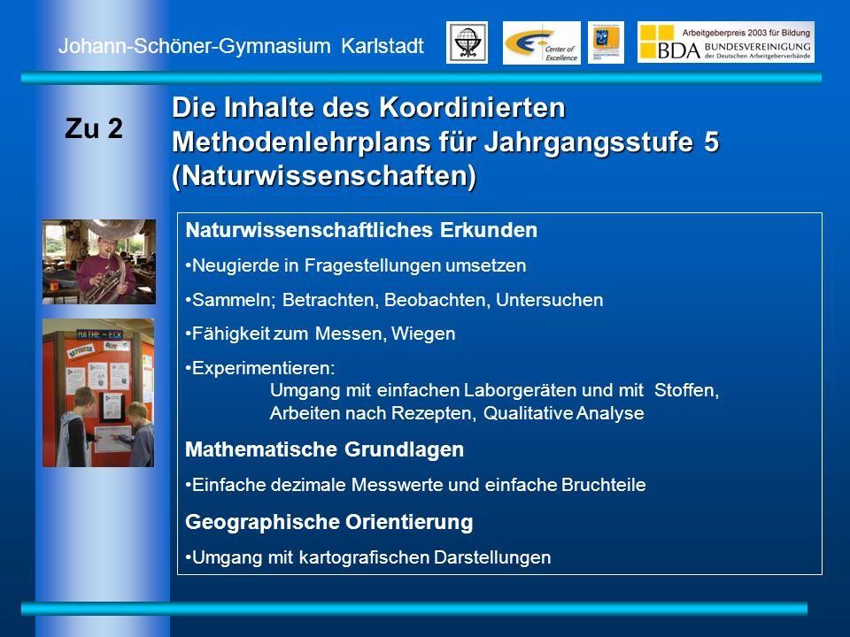 Johann-Schöner-Gymnasium Karlstadt Die Inhalte des Koordinierten Methodenlehrplans für Jahrgangsstufe 5 (Naturwissenschaften) Naturwissenschaftliches