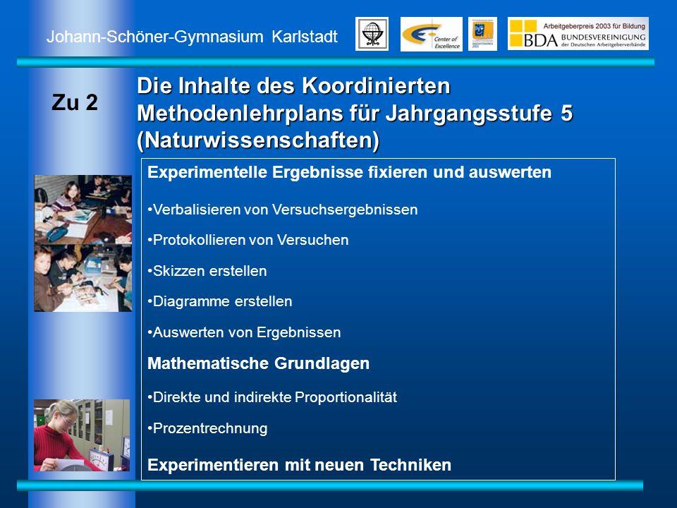 Johann-Schöner-Gymnasium Karlstadt Die Inhalte des Koordinierten Methodenlehrplans für Jahrgangsstufe 5 (Naturwissenschaften) Experimentelle Ergebniss