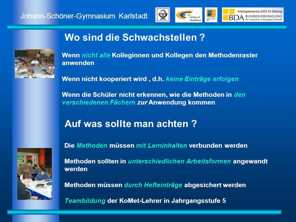 Johann-Schöner-Gymnasium Karlstadt Auf was sollte man achten ? Die Methoden müssen mit Lerninhalten verbunden werden Methoden sollten in unterschiedli