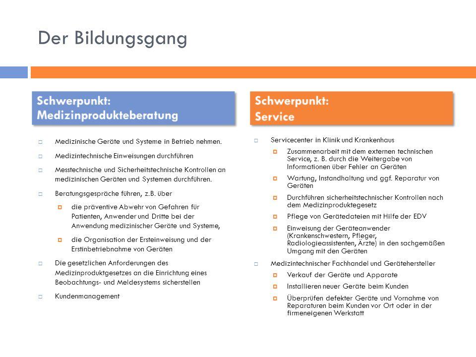Die Stundentafel – Berufsübergreifender Bereich Schwerpunkt: Medizinprodukteberatung Schwerpunkt: Service Schwerpunkt: Service