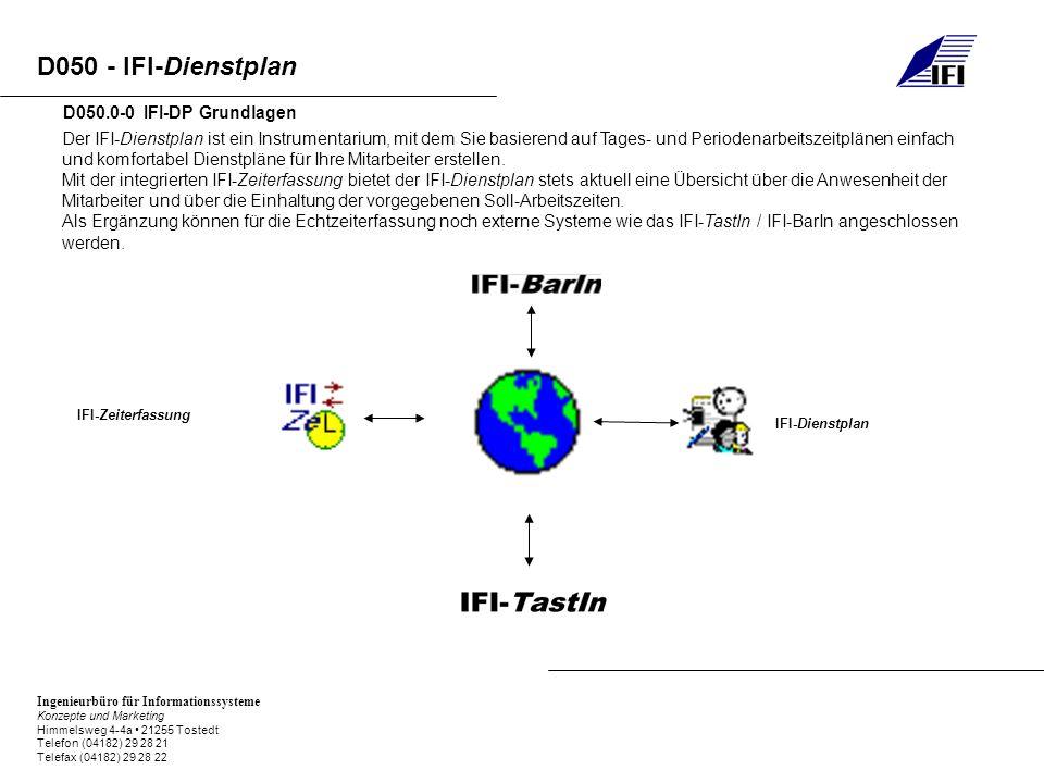 Ingenieurbüro für Informationssysteme Konzepte und Marketing Himmelsweg 4-4a 21255 Tostedt Telefon (04182) 29 28 21 Telefax (04182) 29 28 22 D050 - IFI-Dienstplan D050.0-0 IFI-DP Grundlagen Der IFI-Dienstplan ist ein Instrumentarium, mit dem Sie basierend auf Tages- und Periodenarbeitszeitplänen einfach und komfortabel Dienstpläne für Ihre Mitarbeiter erstellen.