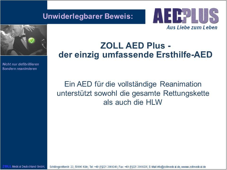 Nicht nur defibrillieren Sondern reanimieren Unwiderlegbarer Beweis: Ein AED für die vollständige Reanimation unterstützt sowohl die gesamte Rettungsk