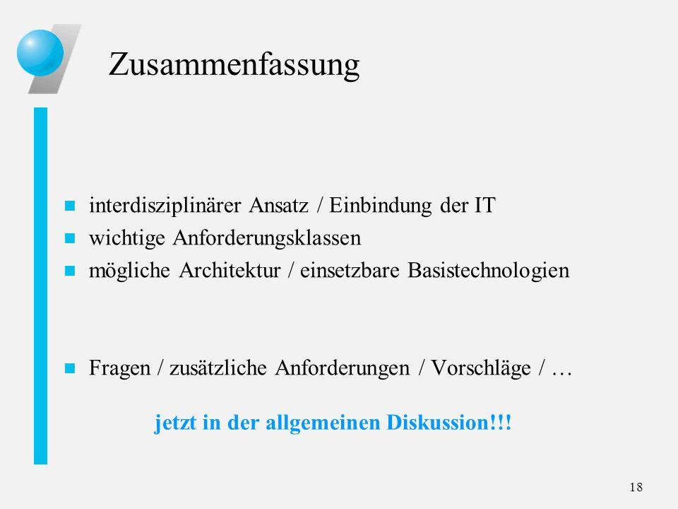 18 Zusammenfassung n interdisziplinärer Ansatz / Einbindung der IT n wichtige Anforderungsklassen n mögliche Architektur / einsetzbare Basistechnologi