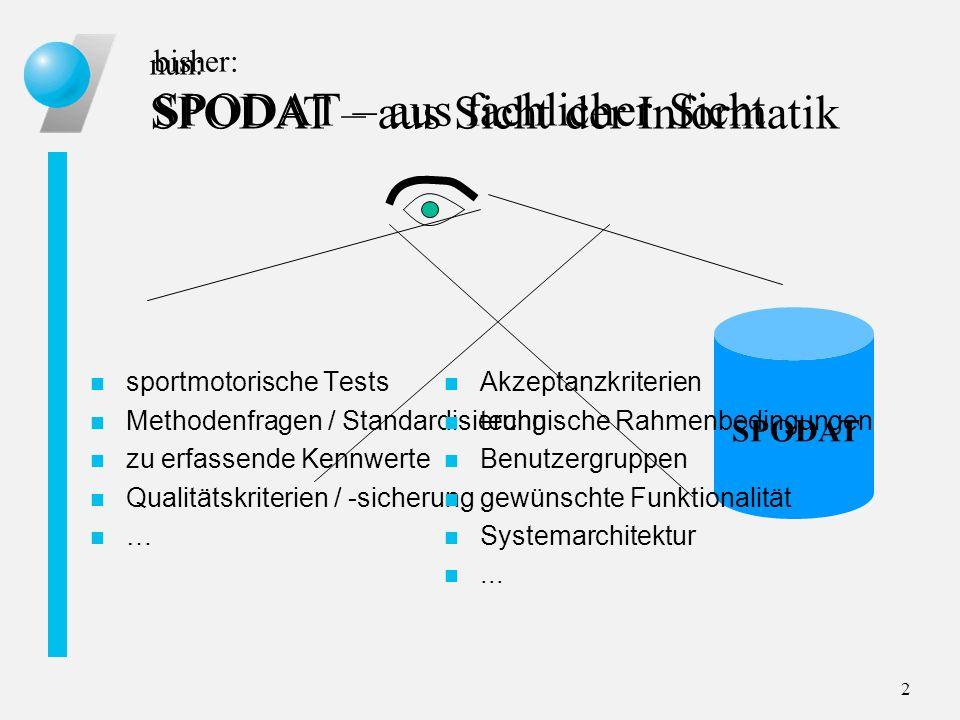 2 bisher: SPODAT – aus fachlicher Sicht n sportmotorische Tests n Methodenfragen / Standardisierung n zu erfassende Kennwerte n Qualitätskriterien / -