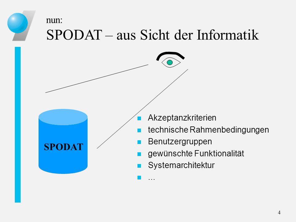 4 nun: SPODAT – aus Sicht der Informatik SPODAT n Akzeptanzkriterien n technische Rahmenbedingungen n Benutzergruppen n gewünschte Funktionalität n Sy