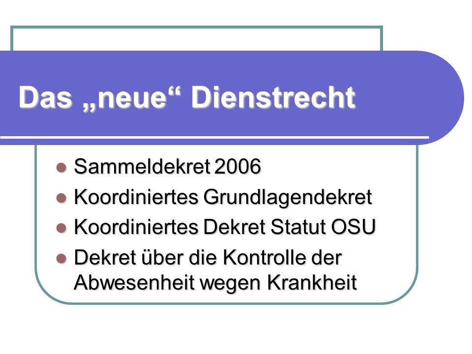 Das neue Dienstrecht Sammeldekret 2006 Sammeldekret 2006 Koordiniertes Grundlagendekret Koordiniertes Grundlagendekret Koordiniertes Dekret Statut OSU Koordiniertes Dekret Statut OSU Dekret über die Kontrolle der Abwesenheit wegen Krankheit Dekret über die Kontrolle der Abwesenheit wegen Krankheit