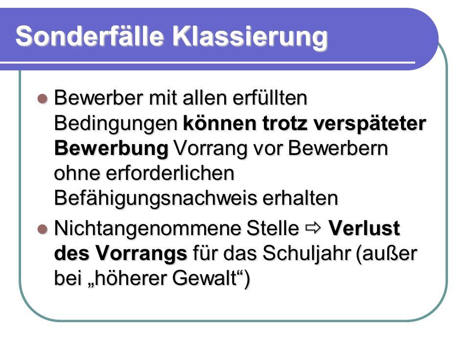 Bezeichnungskriterien - Rangfolge 1.Fristgerechte Bewerbungen mit Vorrang 2.