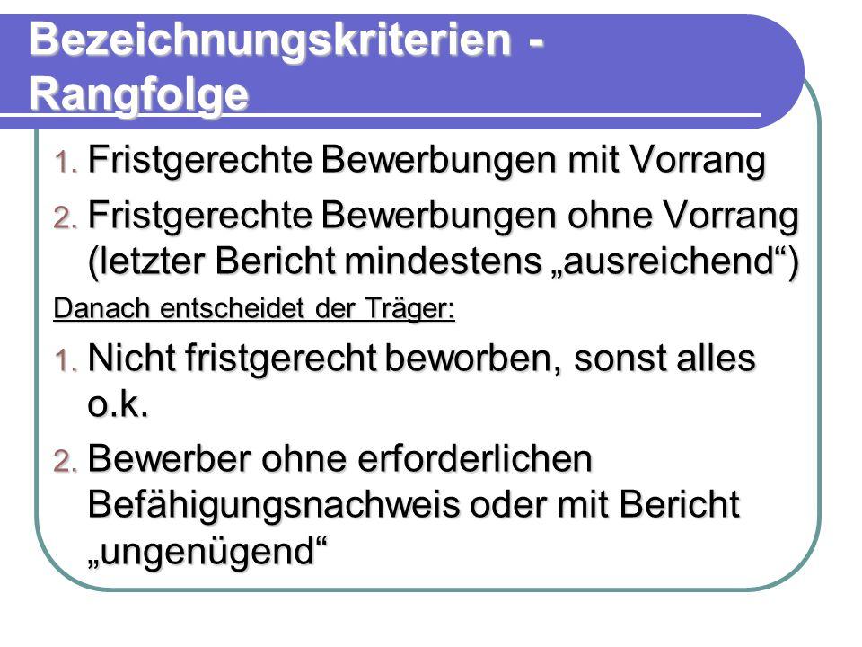 Bezeichnungskriterien - Rangfolge 1. Fristgerechte Bewerbungen mit Vorrang 2.