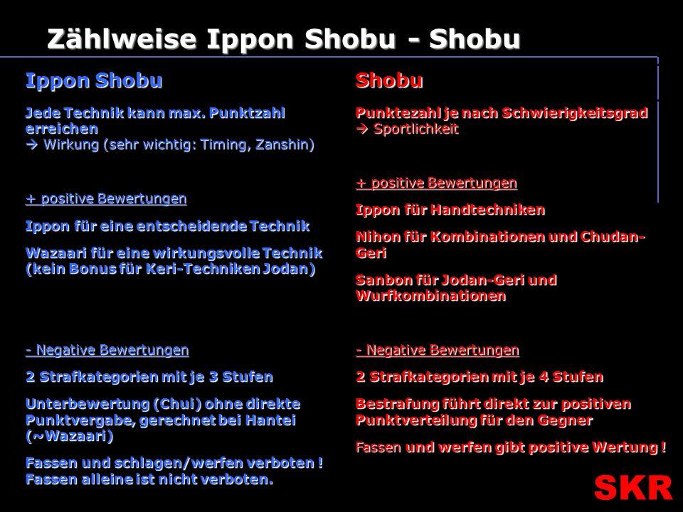 SKR – SR- Ausbildungsteam SKR Zählweise Ippon Shobu - Shobu Ippon Shobu Shobu Jede Technik kann max.