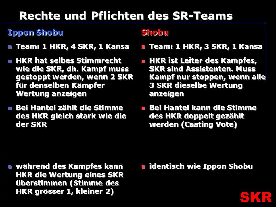 SKR – SR- Ausbildungsteam SKR Rechte und Pflichten des SR-Teams Ippon Shobu Shobu Team: 1 HKR, 4 SKR, 1 Kansa Team: 1 HKR, 4 SKR, 1 Kansa HKR hat selbes Stimmrecht wie die SKR, dh.