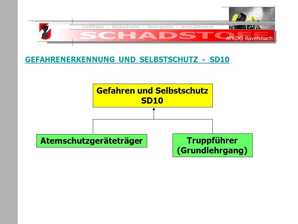 Schadstoffeinsatz GEFAHRENERKENNUNG UND SELBSTSCHUTZ - SD10 Gefahren und Selbstschutz SD10 Atemschutzgeräteträger Truppführer (Grundlehrgang)