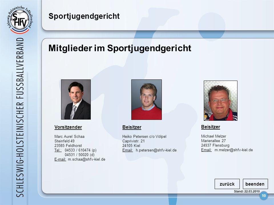 10 Stand: 22.03.2010 Sportjugendgericht Mitglieder im Sportjugendgericht zurückbeenden Vorsitzender Marc Aurel Schaa Steinfeld 49 23585 Feldhorst Tel.