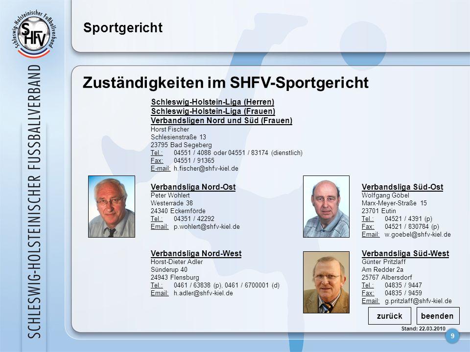 9 Stand: 22.03.2010 Sportgericht Zuständigkeiten im SHFV-Sportgericht zurückbeenden Schleswig-Holstein-Liga (Herren) Schleswig-Holstein-Liga (Frauen)