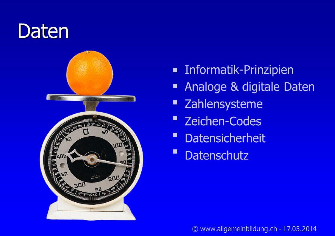 © www.allgemeinbildung.ch - 17.05.2014 Daten Informatik-Prinzipien Analoge & digitale Daten Zahlensysteme Zeichen-Codes Datensicherheit Datenschutz