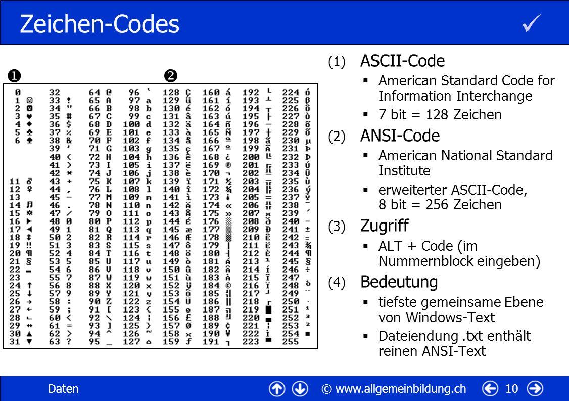 © www.allgemeinbildung.chDaten10 Zeichen-Codes (1) ASCII-Code American Standard Code for Information Interchange 7 bit = 128 Zeichen (2) ANSI-Code American National Standard Institute erweiterter ASCII-Code, 8 bit = 256 Zeichen (3) Zugriff ALT + Code (im Nummernblock eingeben) (4) Bedeutung tiefste gemeinsame Ebene von Windows-Text Dateiendung.txt enthält reinen ANSI-Text