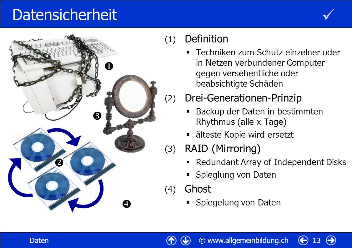 © www.allgemeinbildung.chDaten13 Datensicherheit (1) Definition Techniken zum Schutz einzelner oder in Netzen verbundener Computer gegen versehentlich