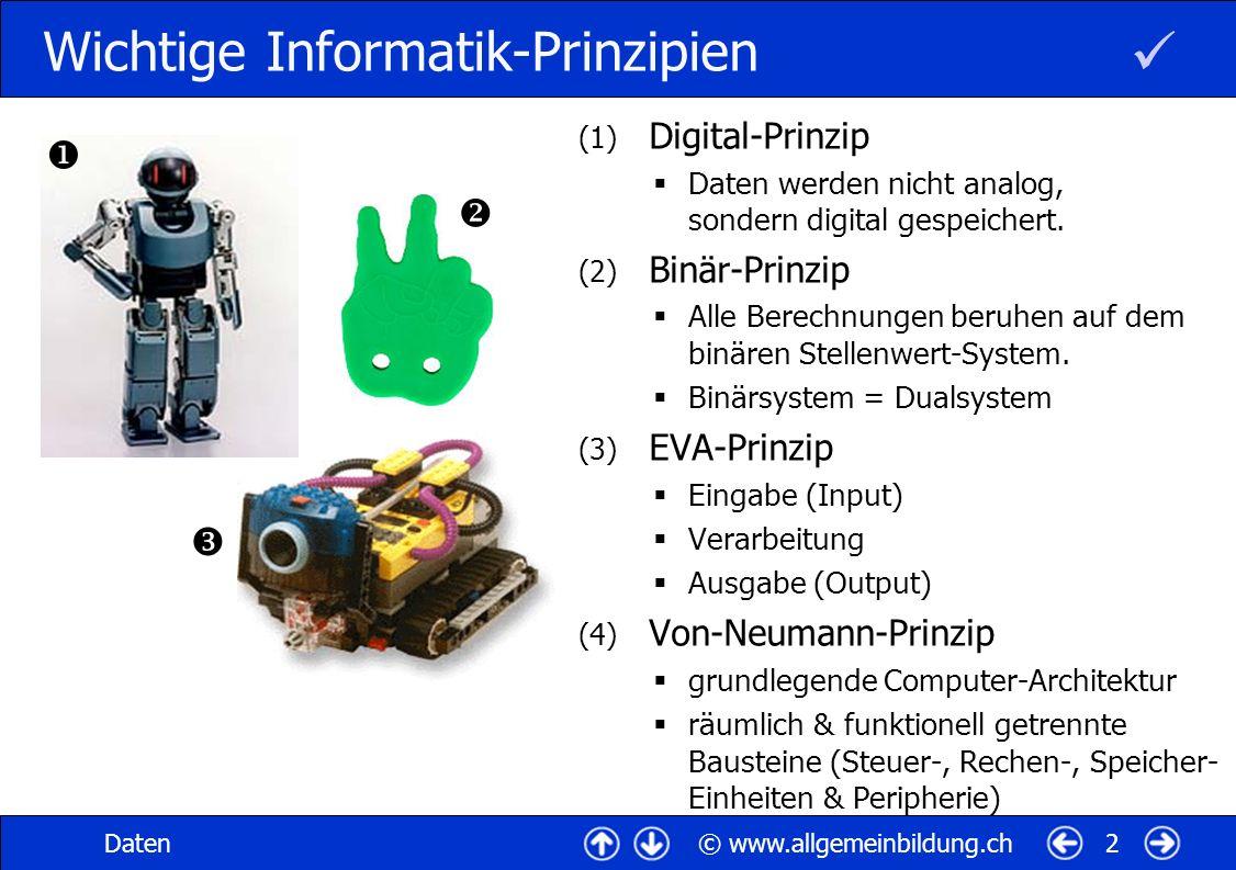 © www.allgemeinbildung.chDaten2 Wichtige Informatik-Prinzipien (1) Digital-Prinzip Daten werden nicht analog, sondern digital gespeichert.