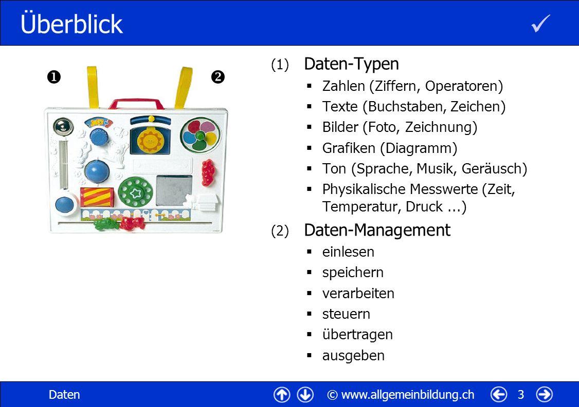 © www.allgemeinbildung.chDaten3 Überblick (1) Daten-Typen Zahlen (Ziffern, Operatoren) Texte (Buchstaben, Zeichen) Bilder (Foto, Zeichnung) Grafiken (