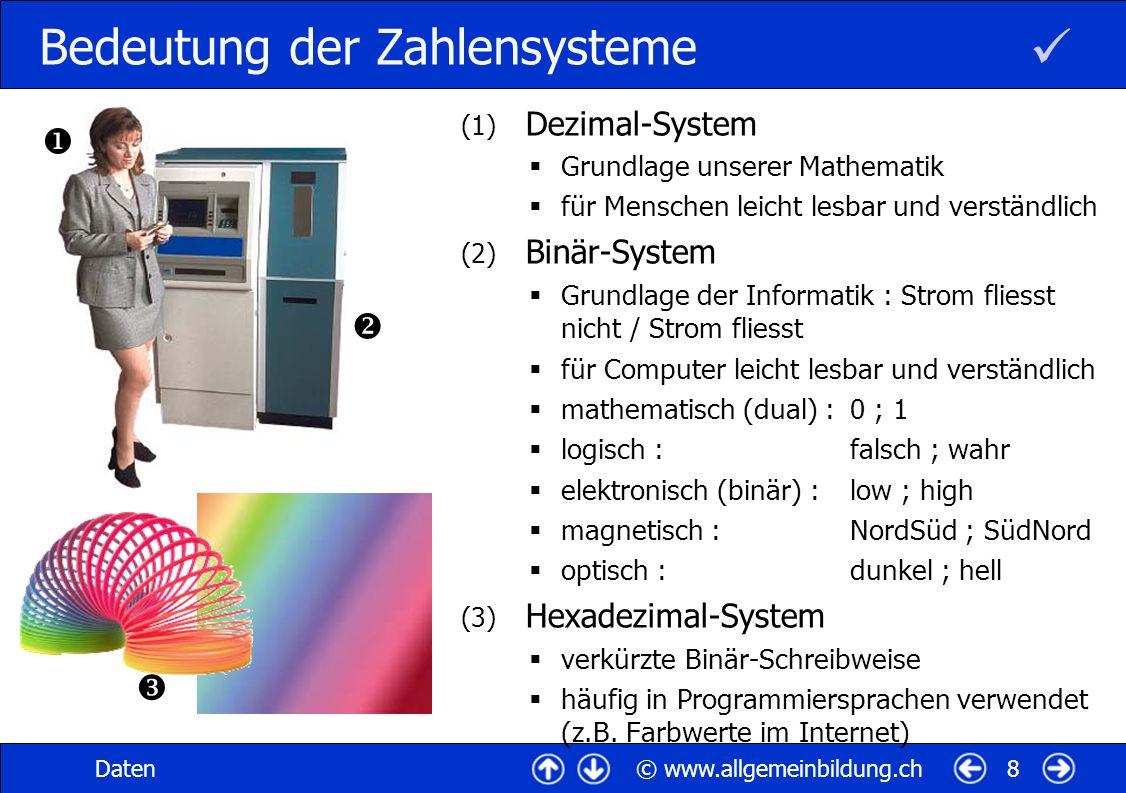 © www.allgemeinbildung.chDaten8 Bedeutung der Zahlensysteme (1) Dezimal-System Grundlage unserer Mathematik für Menschen leicht lesbar und verständlic
