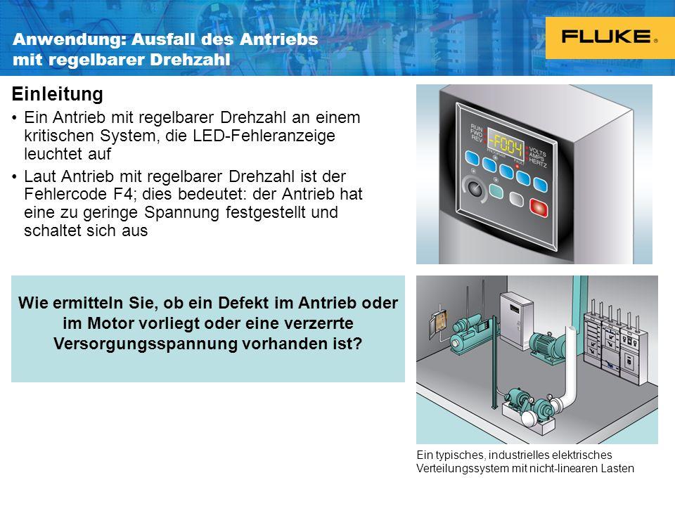 Anwendung: Ausfall des Antriebs mit regelbarer Drehzahl Einleitung Ein Antrieb mit regelbarer Drehzahl an einem kritischen System, die LED-Fehleranzei