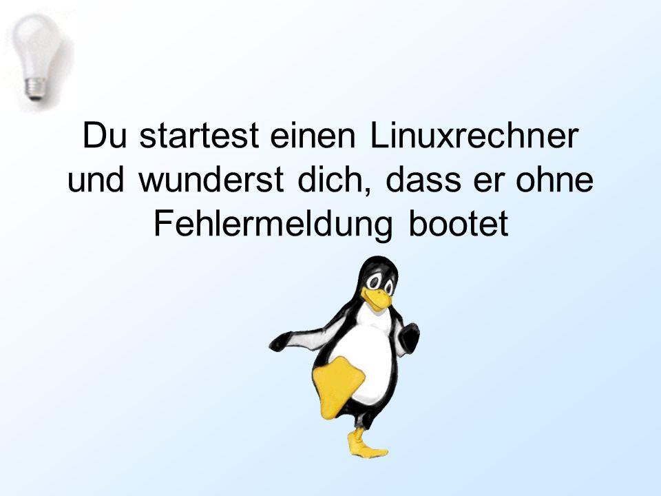 Du startest einen Linuxrechner und wunderst dich, dass er ohne Fehlermeldung bootet