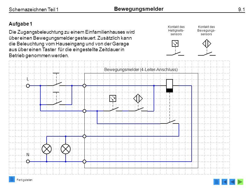 Schemazeichnen Teil 1 9.1 Bewegungsmelder Aufgabe 1 Die Zugangsbeleuchtung zu einem Einfamilienhauses wird über einen Bewegungsmelder gesteuert. Zusät
