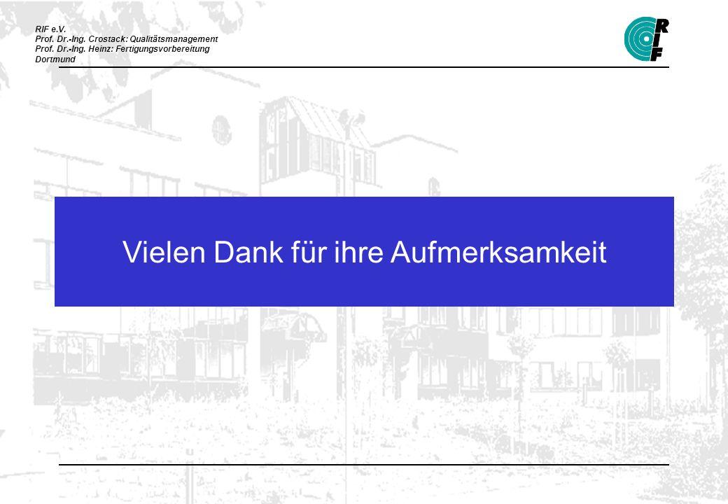 RIF e.V. Prof. Dr.-Ing. Crostack: Qualitätsmanagement Prof. Dr.-Ing. Heinz: Fertigungsvorbereitung Dortmund Vielen Dank für ihre Aufmerksamkeit