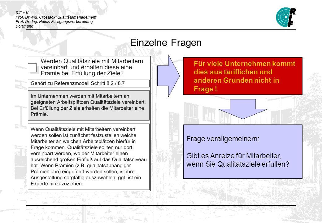 RIF e.V. Prof. Dr.-Ing. Crostack: Qualitätsmanagement Prof. Dr.-Ing. Heinz: Fertigungsvorbereitung Dortmund Für viele Unternehmen kommt dies aus tarif