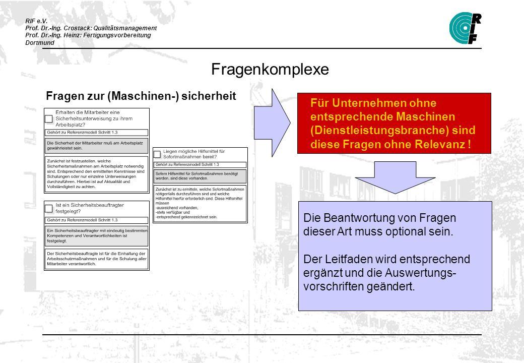 RIF e.V. Prof. Dr.-Ing. Crostack: Qualitätsmanagement Prof. Dr.-Ing. Heinz: Fertigungsvorbereitung Dortmund Fragen zur (Maschinen-) sicherheit Für Unt