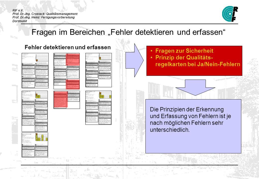 RIF e.V. Prof. Dr.-Ing. Crostack: Qualitätsmanagement Prof. Dr.-Ing. Heinz: Fertigungsvorbereitung Dortmund Fehler detektieren und erfassen Fragen zur