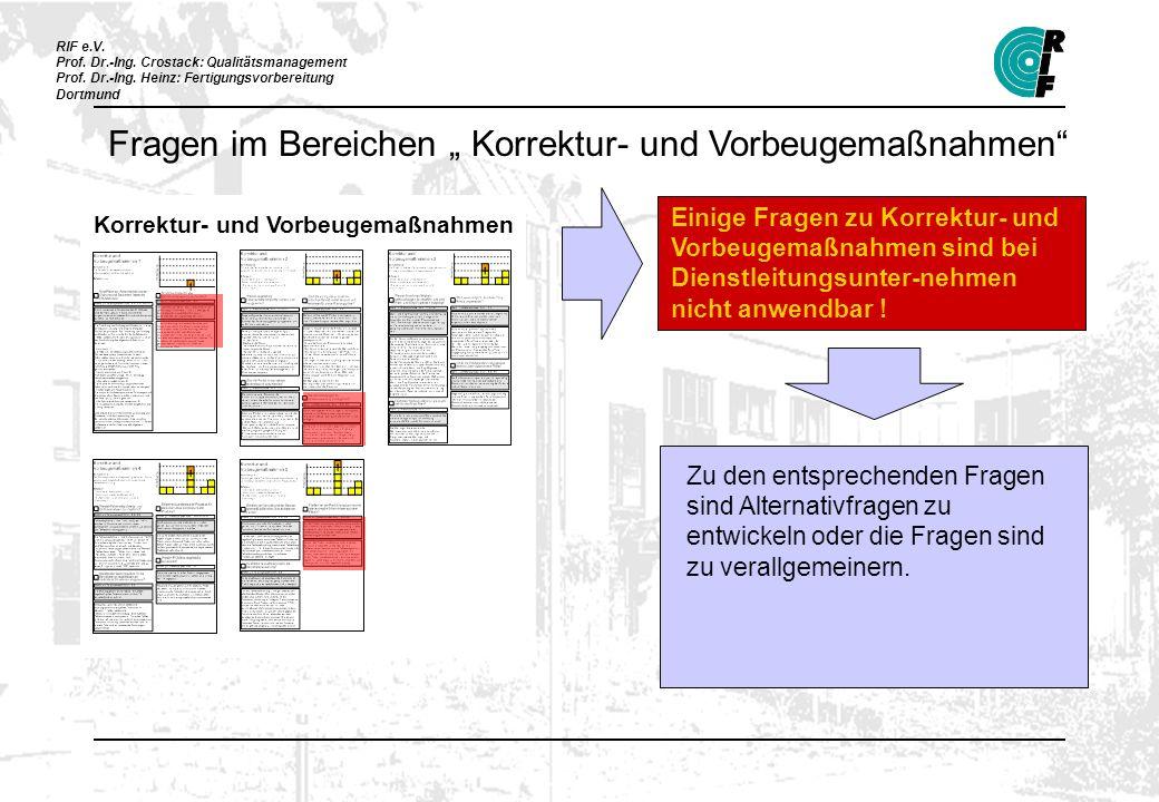 RIF e.V. Prof. Dr.-Ing. Crostack: Qualitätsmanagement Prof. Dr.-Ing. Heinz: Fertigungsvorbereitung Dortmund Korrektur- und Vorbeugemaßnahmen Einige Fr