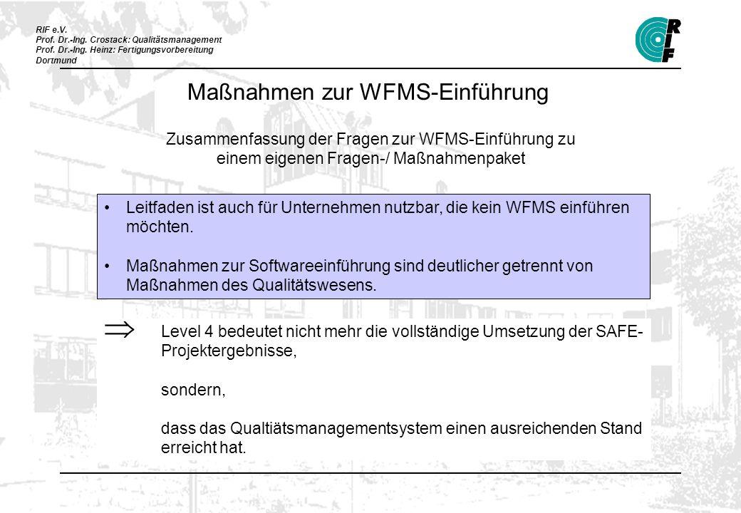 RIF e.V. Prof. Dr.-Ing. Crostack: Qualitätsmanagement Prof. Dr.-Ing. Heinz: Fertigungsvorbereitung Dortmund Maßnahmen zur WFMS-Einführung Zusammenfass
