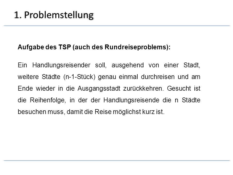 1. Problemstellung Aufgabe des TSP (auch des Rundreiseproblems): Ein Handlungsreisender soll, ausgehend von einer Stadt, weitere Städte (n-1-Stück) ge