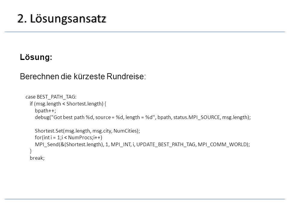 2. Lösungsansatz Lösung: Berechnen die kürzeste Rundreise: case BEST_PATH_TAG: if (msg.length < Shortest.length) { bpath++; debug(