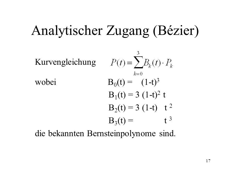 17 Analytischer Zugang (Bézier) Kurvengleichung wobei B 0 (t) = (1-t) 3 B 1 (t) = 3 (1-t) 2 t B 2 (t) = 3 (1-t) t 2 B 3 (t) = t 3 die bekannten Bernsteinpolynome sind.