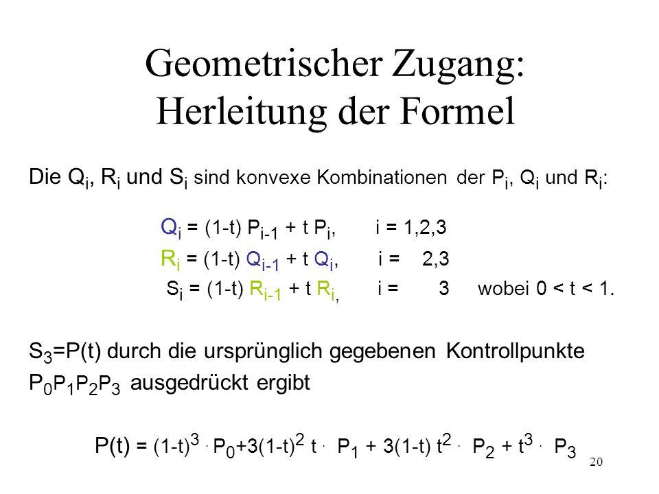 20 Geometrischer Zugang: Herleitung der Formel Die Q i, R i und S i sind konvexe Kombinationen der P i, Q i und R i : Q i = (1-t) P i-1 + t P i, i = 1,2,3 R i = (1-t) Q i-1 + t Q i, i = 2,3 S i = (1-t) R i-1 + t R i, i = 3 wobei 0 < t < 1.