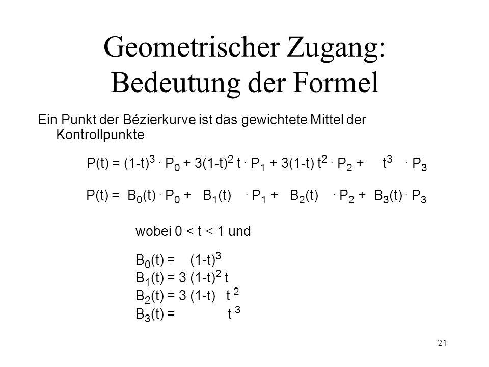 21 Geometrischer Zugang: Bedeutung der Formel Ein Punkt der Bézierkurve ist das gewichtete Mittel der Kontrollpunkte P(t) = (1-t) 3. P 0 + 3(1-t) 2 t.