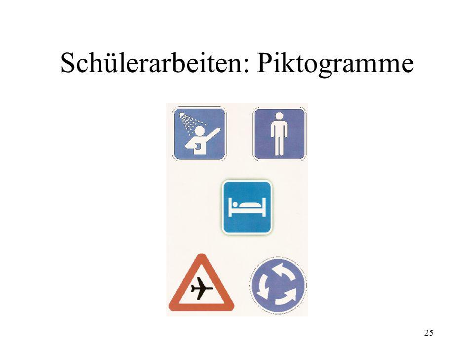 25 Schülerarbeiten: Piktogramme