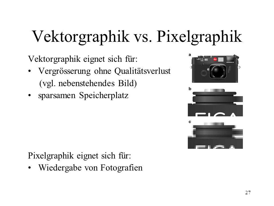 27 Vektorgraphik vs. Pixelgraphik Vektorgraphik eignet sich für: Vergrösserung ohne Qualitätsverlust (vgl. nebenstehendes Bild) sparsamen Speicherplat