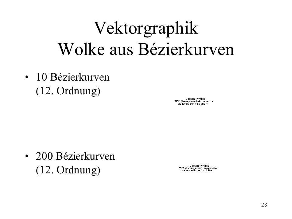 28 Vektorgraphik Wolke aus Bézierkurven 10 Bézierkurven (12. Ordnung) 200 Bézierkurven (12. Ordnung)