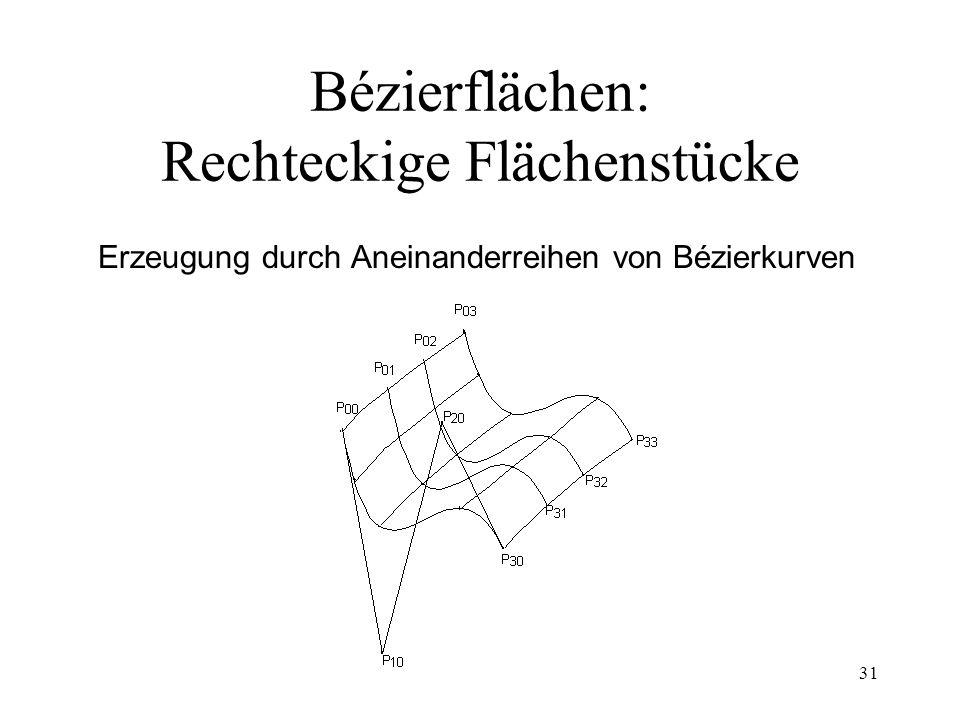 31 Bézierflächen: Rechteckige Flächenstücke Erzeugung durch Aneinanderreihen von Bézierkurven