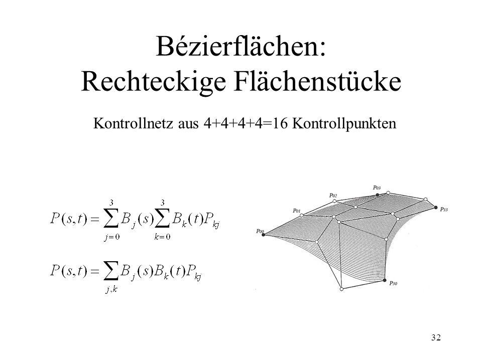 32 Bézierflächen: Rechteckige Flächenstücke Kontrollnetz aus 4+4+4+4=16 Kontrollpunkten