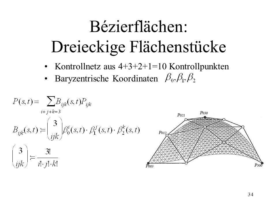34 Bézierflächen: Dreieckige Flächenstücke Kontrollnetz aus 4+3+2+1=10 Kontrollpunkten Baryzentrische Koordinaten