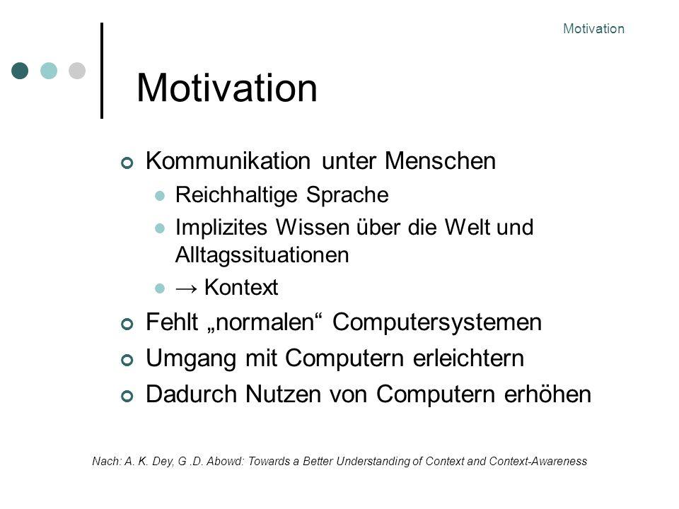 Motivation Kommunikation unter Menschen Reichhaltige Sprache Implizites Wissen über die Welt und Alltagssituationen Kontext Fehlt normalen Computersystemen Umgang mit Computern erleichtern Dadurch Nutzen von Computern erhöhen Nach: A.