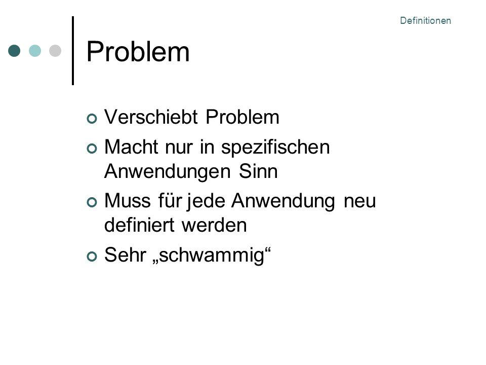Definitionen Problem Verschiebt Problem Macht nur in spezifischen Anwendungen Sinn Muss für jede Anwendung neu definiert werden Sehr schwammig