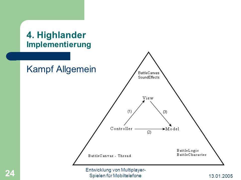 13.01.2005 Entwicklung von Multiplayer- Spielen für Mobiltelefone 24 4. Highlander Implementierung Kampf Allgemein