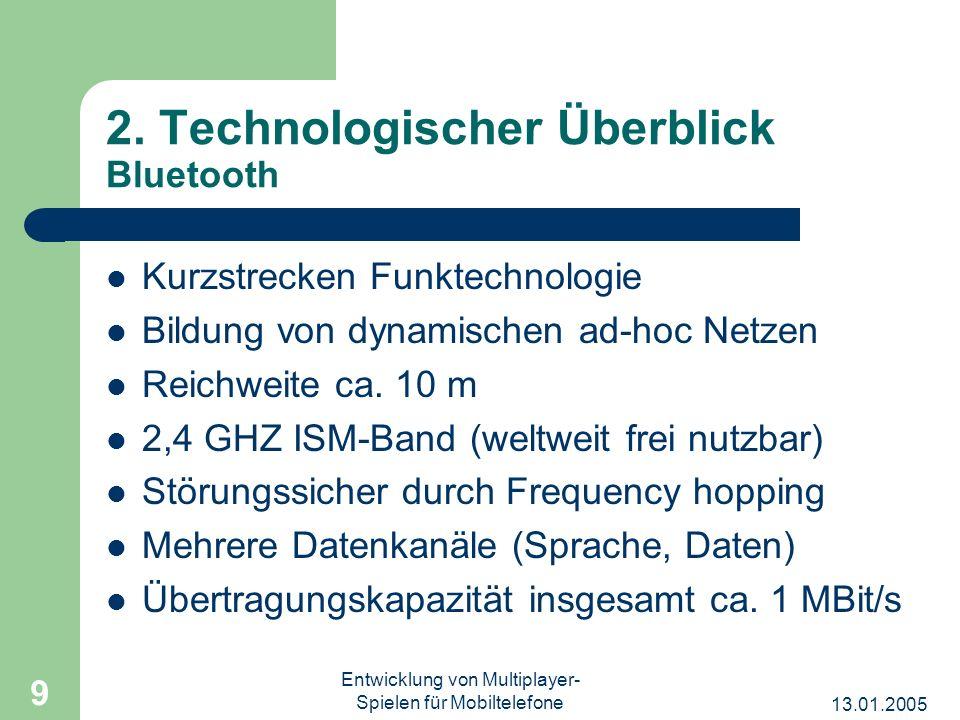 13.01.2005 Entwicklung von Multiplayer- Spielen für Mobiltelefone 9 2. Technologischer Überblick Bluetooth Kurzstrecken Funktechnologie Bildung von dy