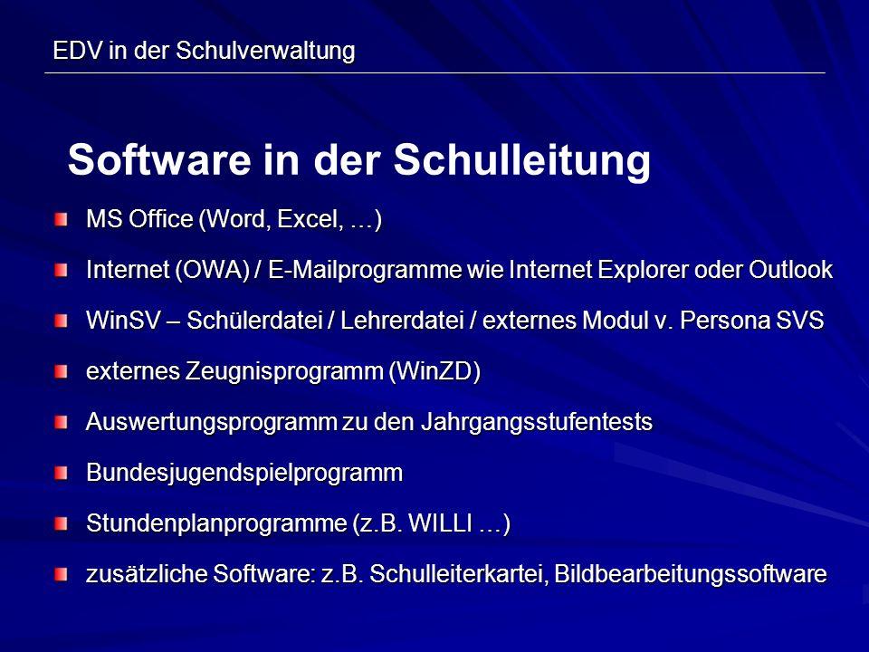 EDV in der Schulverwaltung MS Office (Word, Excel, …) Internet (OWA) / E-Mailprogramme wie Internet Explorer oder Outlook WinSV – Schülerdatei / Lehre