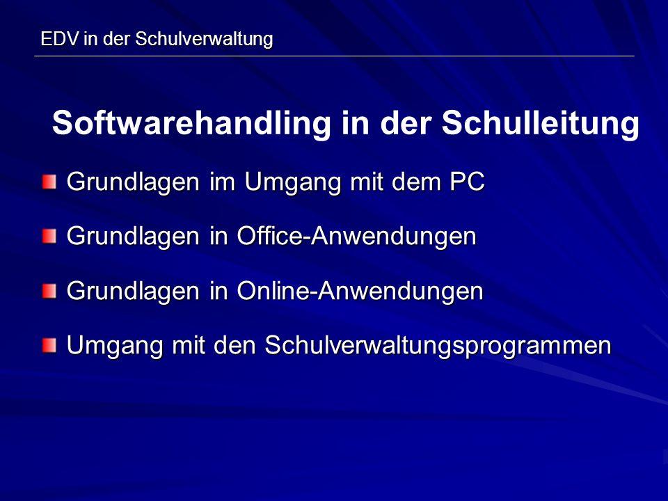 Grundlagen im Umgang mit dem PC Grundlagen in Office-Anwendungen Grundlagen in Online-Anwendungen Umgang mit den Schulverwaltungsprogrammen Softwareha